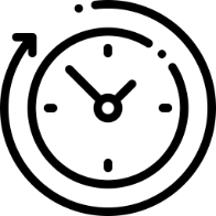 pictogramme représentant une horloge avec une flèche
